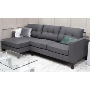 Vida Living Furniture Astrid Charcoal Fabric Left Hand Facing Corner Sofa