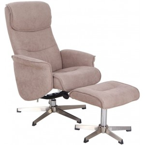 Vida Living Furniture Rayna Sand Fabric Recliner Chair with Footstool