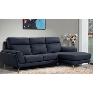 Vida Living Furniture Vitalia Indigo Leather Left Hand Facing Corner Sofa