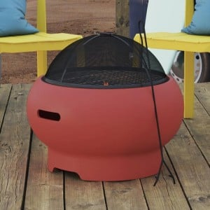 """Novogratz Furniture Asher Persimmon Red 22"""" Wood Burning Fire Pit with Grilling Surface and Cover"""