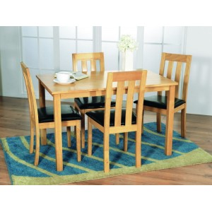 Vida Living Furniture Annecy 120cm 4 Seat Natural Wooden Dining Set