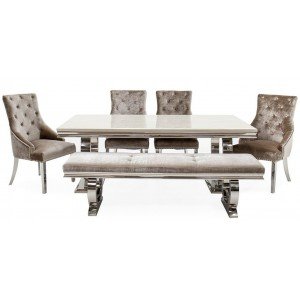 Vida Living Furniture Arianna 200cm Cream Marble Dining Table with 4 Belvedere Champagne Dining Chairs & 180cm Bench Set