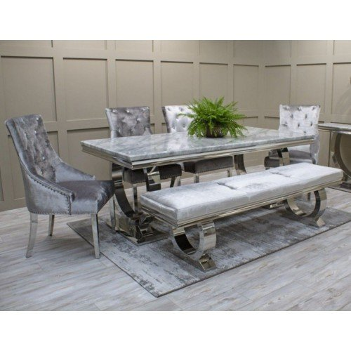 Vida Living Furniture Arianna 200cm Cream Marble Dining Table with 4 Belvedere Dining Chairs & 180cm Grey Bench Set