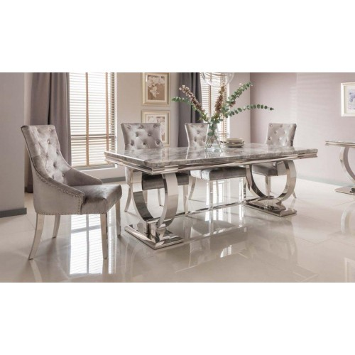 Vida Living Furniture Arianna 200cm Cream Marble Dining Table with 4 Belvedere Dining Chairs & 180cm Pewter Bench Set