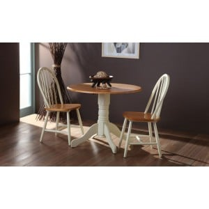 Vida Living Furniture Brecon 2 Seat Buttermilk Ivory Round Drop Leaf Dining Table Set