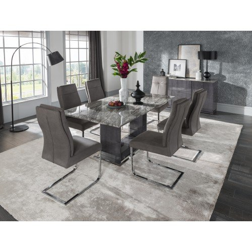 Vida Living Furniture Donatella Grey Marble 160cm Dining Table and 6 Chairs Dining Set