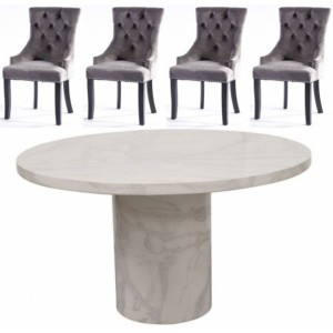 Vida Living Furniture Carra Bone White 130cm Round Dining Table with 4 Belvedere Grey Chairs Dining Set