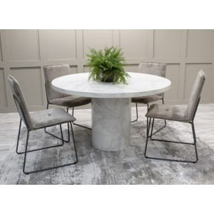 Vida Living Furniture Carra Bone White 130cm Round Dining Table with 4 Soren Grey Velvet Chairs Dining Set
