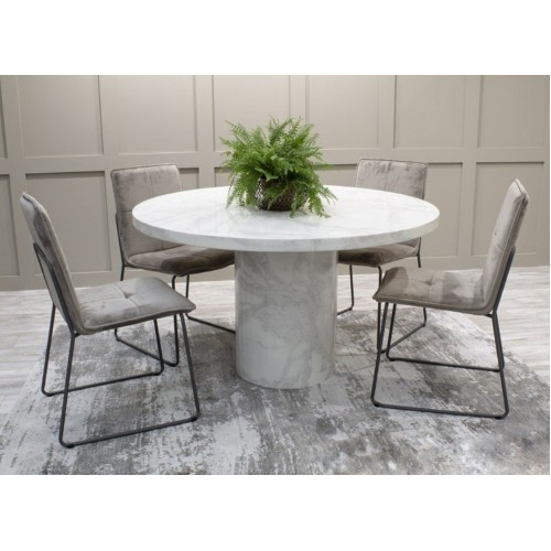 Vida Living Furniture Carra Bone White 130cm Round Dining Table with 4 Soren Grey Velvet Chairs Dining Set