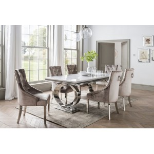 Vida Living Furniture Selene Bone White Marble 200cm Dining Table & 6 Belvedere Champagne Chairs Dining Set