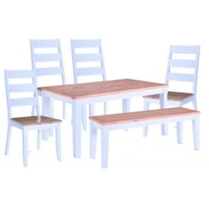 Vida Living Furniture Rona Grey 150cm Dining Table with 4 Rona Chairs and Bench Dining Set