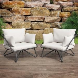 Novogratz Furniture Teddi Grey Metal Lounge Chair Set with Rain Covers