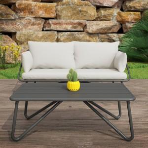 Novogratz Furniture Teddi Outdoor Grey Loveseat and Coffee Table with Rain Covers