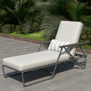Novogratz Furniture Connie Outdoor Grey Multi Position Sun Chaise Lounger with Cover