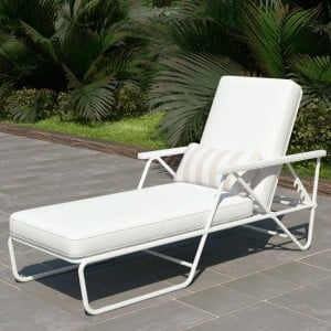 Novogratz Furniture Connie Outdoor White Multi Position Sun Chaise Lounger with Cover