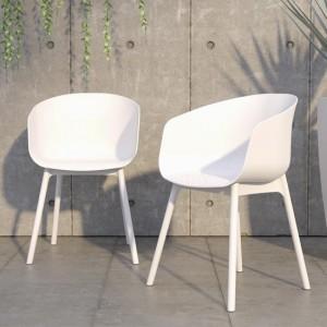 Novogratz Furniture York White Indoor/Outdoor Resin Dining Chairs In Pair