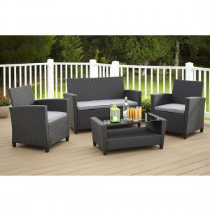Cosco Outdoor Living Malmo Black 4 Piece Resin Wicker Patio Deep Seating Conversation Set with Grey Cushions