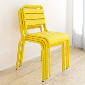Novogratz Furniture June Yellow Poolside Gossip Collection 4 Pack Stacking Metal Dining Chairs