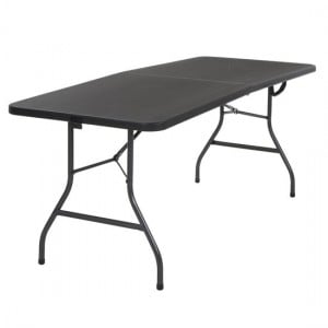 Cosco Folding Furniture Black Small Fold-In-Half Molded Resin Top Dining Table