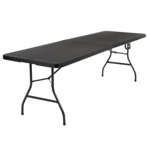 Cosco Folding Furniture Black Large Fold-In-Half Molded Resin Top Dining Table