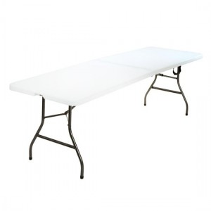 Cosco Folding Furniture White Large Fold-In-Half Molded Resin Top Dining Table