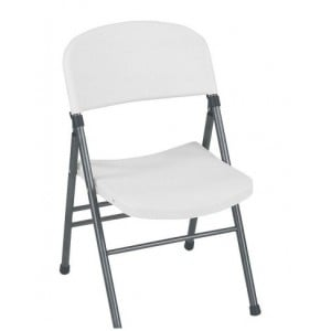 Cosco Folding Furniture 4 Pack Resin Folding Chair with Molded Seat and Back White Speckle