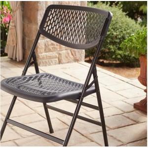 Cosco Folding Furniture Commercial Black Resin Mesh Folding Chair 2-Pack