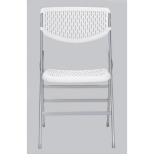 Cosco Folding Furniture Commercial White Resin Mesh Folding Chair 2-Pack