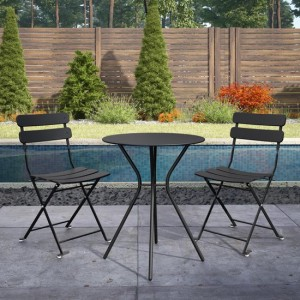 Cosco Outdoor Living Black Metal Bistro Set with Metal Fixed Round Table and 2 Folding Chairs