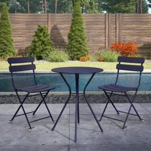 Cosco Outdoor Living Navy Metal Bistro Set with Metal Fixed Round Table and 2 Folding Chairs