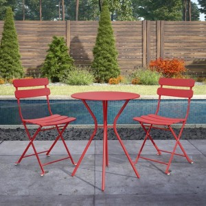 Cosco Outdoor Living Red Metal Bistro Set with Metal Fixed Round Table and 2 Folding Chairs