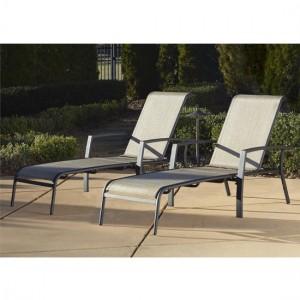 Cosco Outdoor Living Serene Ridge Dark Grey Adjustable Aluminium Sun Chaise Lounger Set