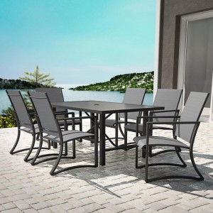 Cosco Outdoor Living Capitol Hill Charcoal Grey 7 Piece Steel Patio Dining Set