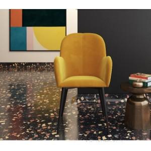 Fitz Upholstered Furniture Mustard Velvet Accent Chair