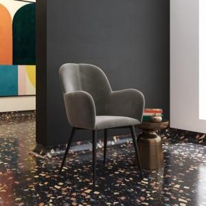 Fitz Upholstered Furniture Grey Velvet Accent Chair