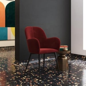 Fitz Upholstered Furniture Burgundy Velvet Accent Chair