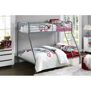 Contemporary Metal Furniture Convertible Single Over Single Bunk Bed