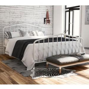 Alphason Furniture Bushwick White Metal 4ft Double Bed
