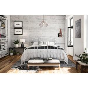 Alphason Furniture Bushwick White Metal 5ft King Size Bed
