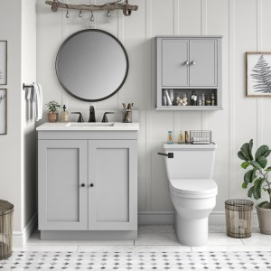 Franklin Wooden Furniture Grey Wall Cabinet