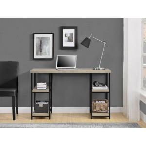 Elmwood Wooden Furniture Distressed Grey Oak Double Pedestal Desk