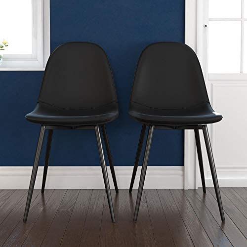 Alphason Furniture Calvin Black Upholstered Set of 2 Dining Chairs