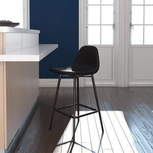 Alphason Furniture Calvin Black Upholstered Counter Stool