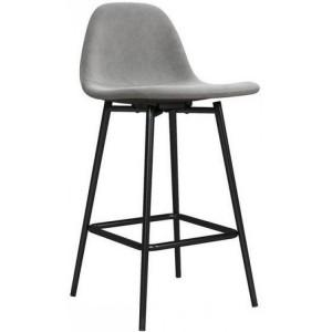 Alphason Furniture Calvin Velvet Grey Upholstered Counter Stool