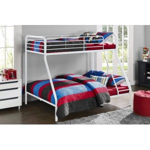 Contemporary Metal Furniture Convertible 3ft Single Over Single Bunk Bed