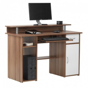 Alphason Office Furniture Albany Walnut and White Computer Desk