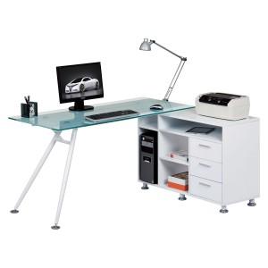 Alphason Office Furniture Augusta Glass Computer Desk