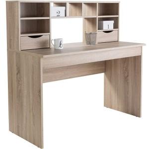 Alphason Office Furniture Albion Oak Computer Desk with Hutch - PRE ORDER