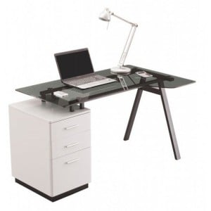 Alphason Office Furniture Cleveland Grey Glass Computer Desk