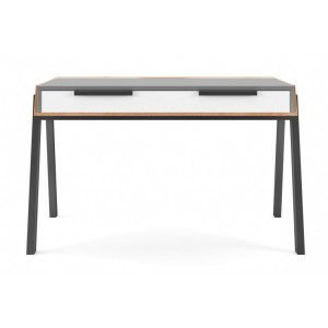 Alphason Furniture Geneva Grey and White 2 Drawers Writing Desk with Cable Storage